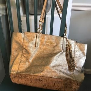 Lilly Pulitzer large gold leather tote